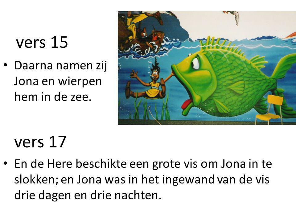 vers 15 vers 17 Daarna namen zij Jona en wierpen hem in de zee.
