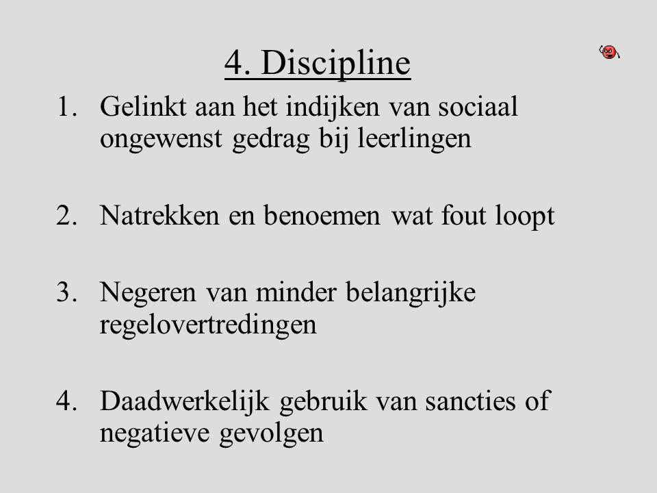 4. Discipline Gelinkt aan het indijken van sociaal ongewenst gedrag bij leerlingen. Natrekken en benoemen wat fout loopt.