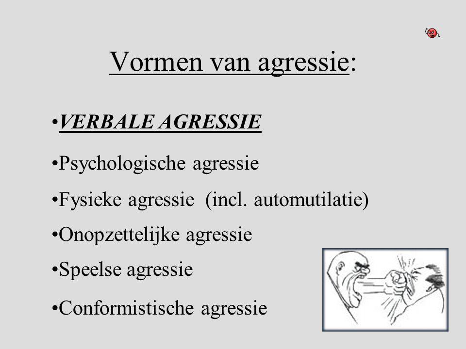 Vormen van agressie: VERBALE AGRESSIE Psychologische agressie
