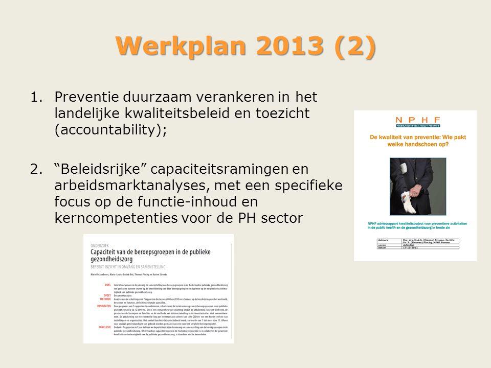 Werkplan 2013 (2) Preventie duurzaam verankeren in het landelijke kwaliteitsbeleid en toezicht (accountability);