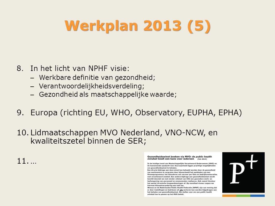 Werkplan 2013 (5) Europa (richting EU, WHO, Observatory, EUPHA, EPHA)