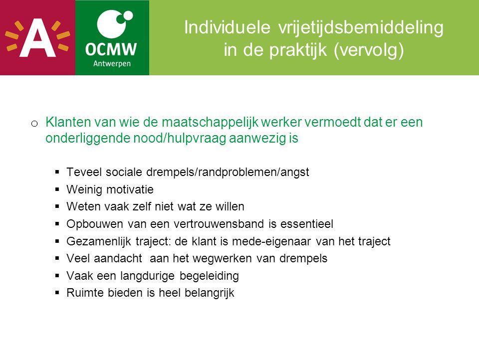 Individuele vrijetijdsbemiddeling in de praktijk (vervolg)