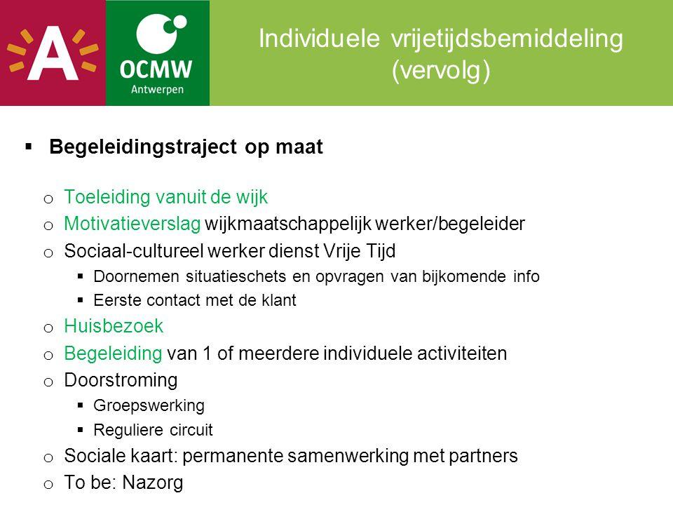 Individuele vrijetijdsbemiddeling (vervolg)