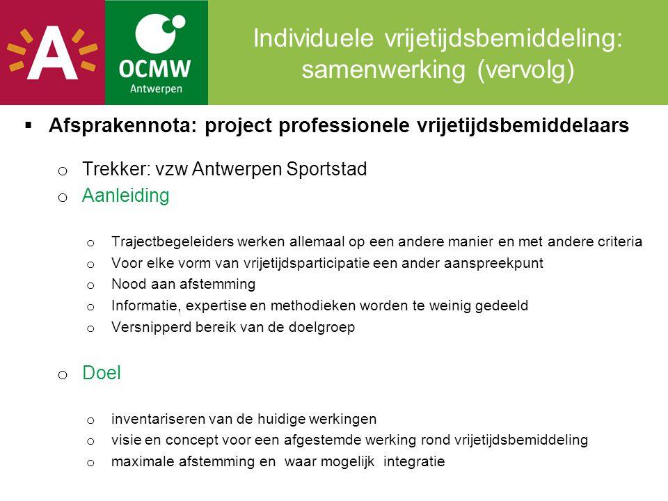 Individuele vrijetijdsbemiddeling: samenwerking (vervolg)