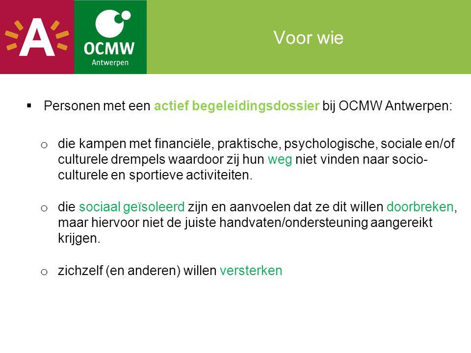 Voor wie Personen met een actief begeleidingsdossier bij OCMW Antwerpen: