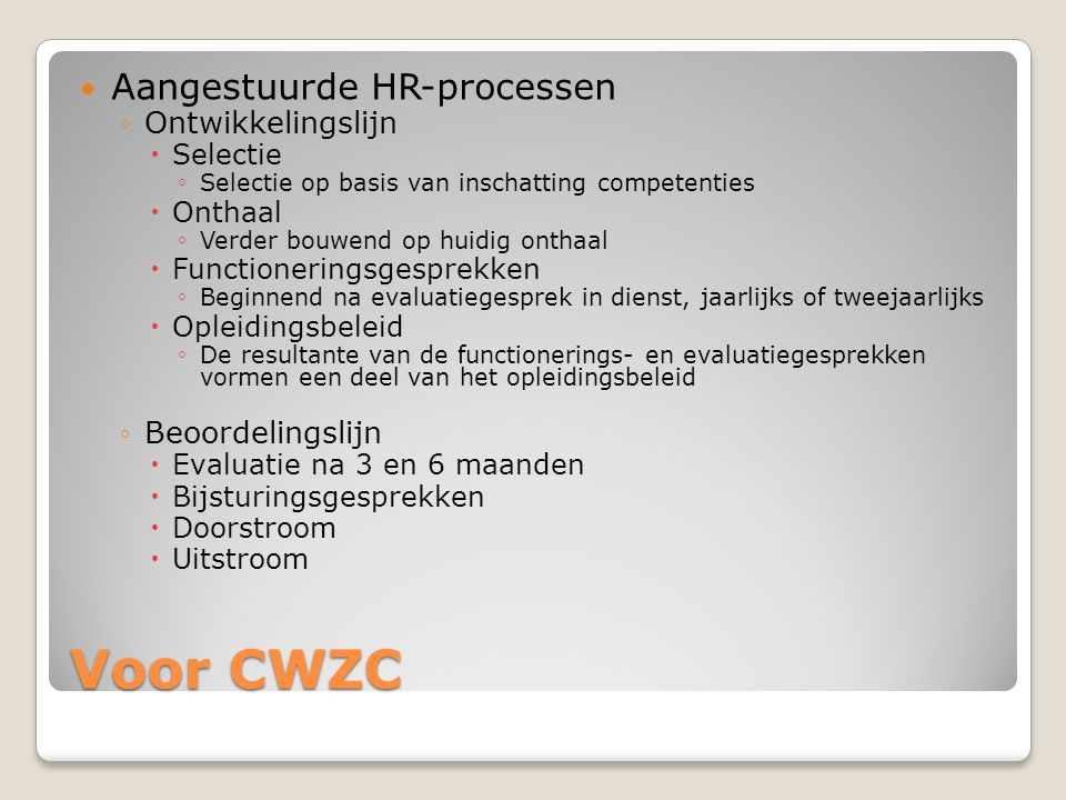 Voor CWZC Aangestuurde HR-processen Ontwikkelingslijn Beoordelingslijn