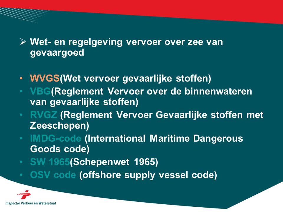 Wet- en regelgeving vervoer over zee van gevaargoed