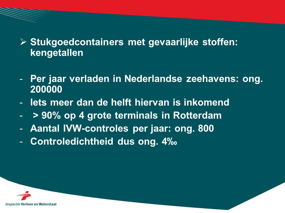 Stukgoedcontainers met gevaarlijke stoffen: kengetallen
