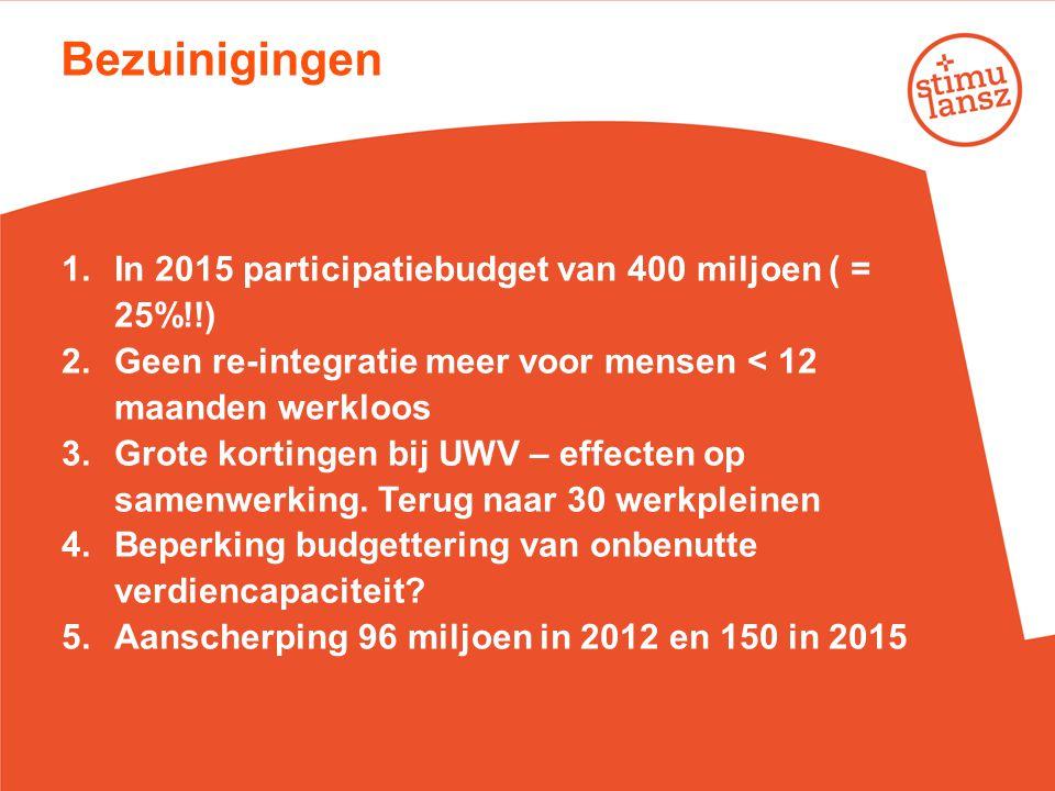 Bezuinigingen In 2015 participatiebudget van 400 miljoen ( = 25%!!)