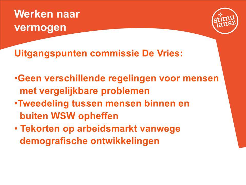 Werken naar vermogen Uitgangspunten commissie De Vries: