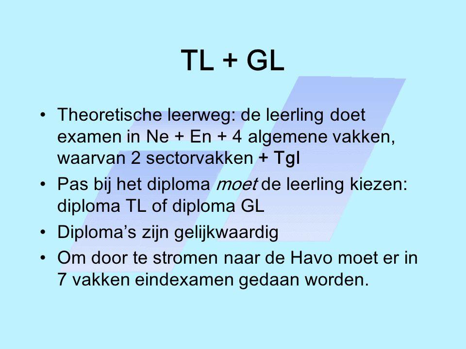 TL + GL Theoretische leerweg: de leerling doet examen in Ne + En + 4 algemene vakken, waarvan 2 sectorvakken + Tgl.