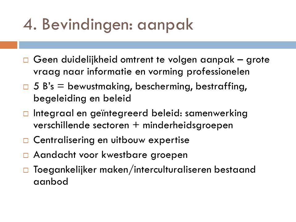 4. Bevindingen: aanpak Geen duidelijkheid omtrent te volgen aanpak – grote vraag naar informatie en vorming professionelen.