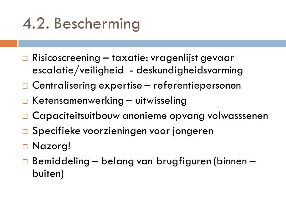 4.2. Bescherming Risicoscreening – taxatie: vragenlijst gevaar escalatie/veiligheid - deskundigheidsvorming.
