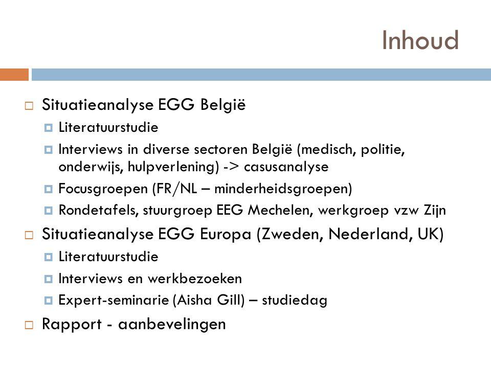 Inhoud Situatieanalyse EGG België
