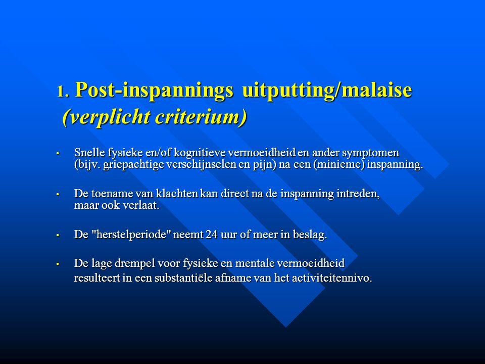 Post-inspannings uitputting/malaise (verplicht criterium)