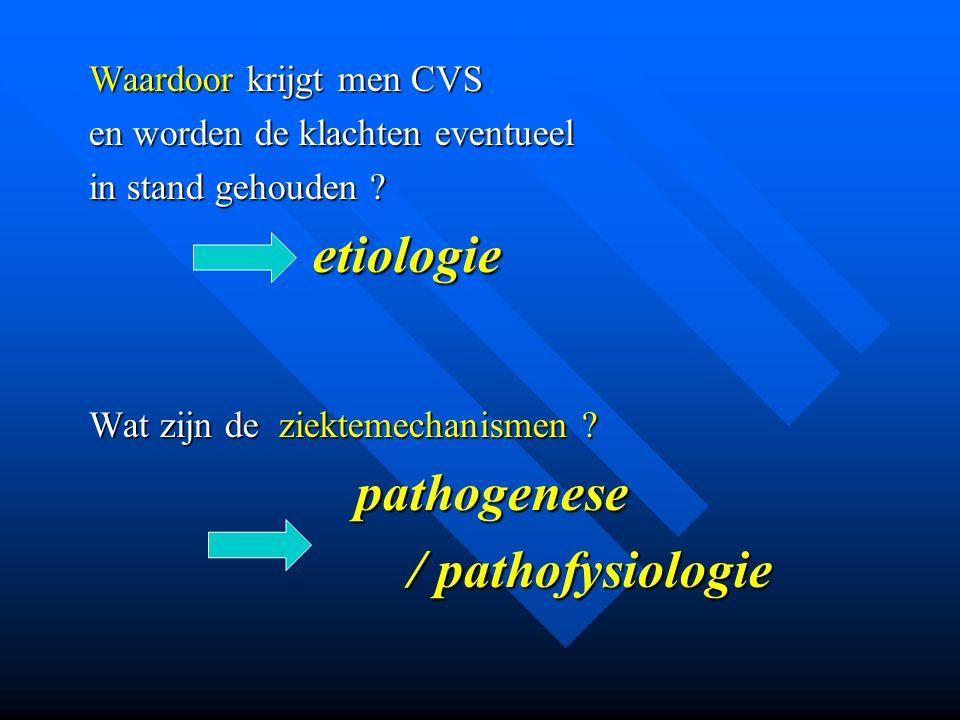 / pathofysiologie pathogenese Waardoor krijgt men CVS