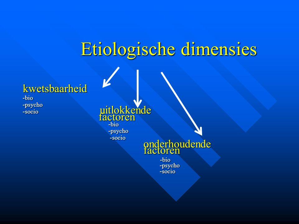 kwetsbaarheid factoren onderhoudende Etiologische dimensies -bio