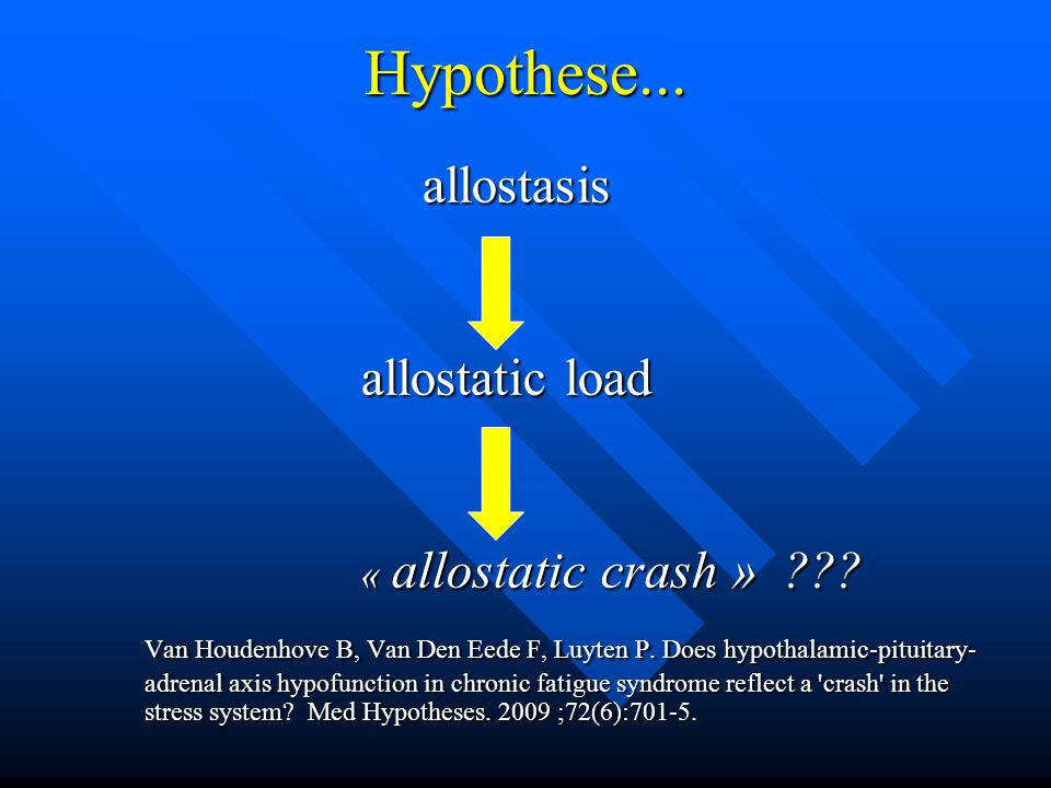 Hypothese... allostasis. allostatic load. « allostatic crash »