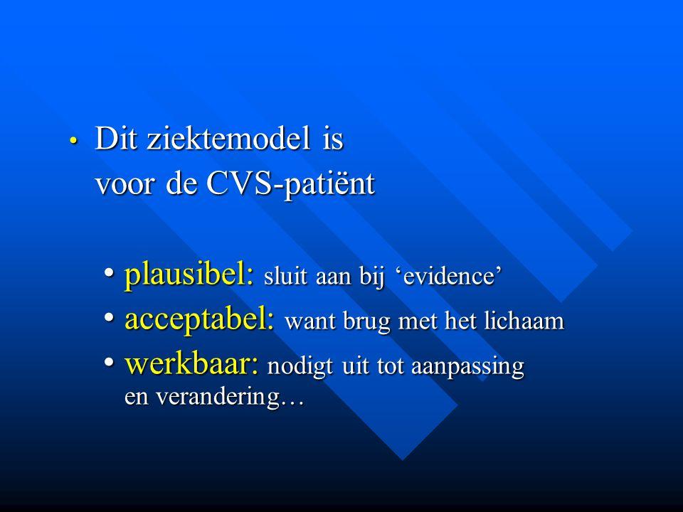 Dit ziektemodel is voor de CVS-patiënt. plausibel: sluit aan bij 'evidence' acceptabel: want brug met het lichaam.