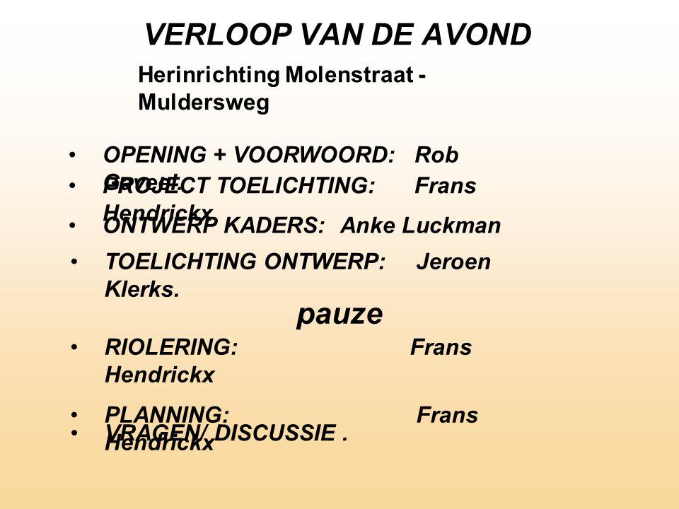 VERLOOP VAN DE AVOND pauze Herinrichting Molenstraat - Muldersweg