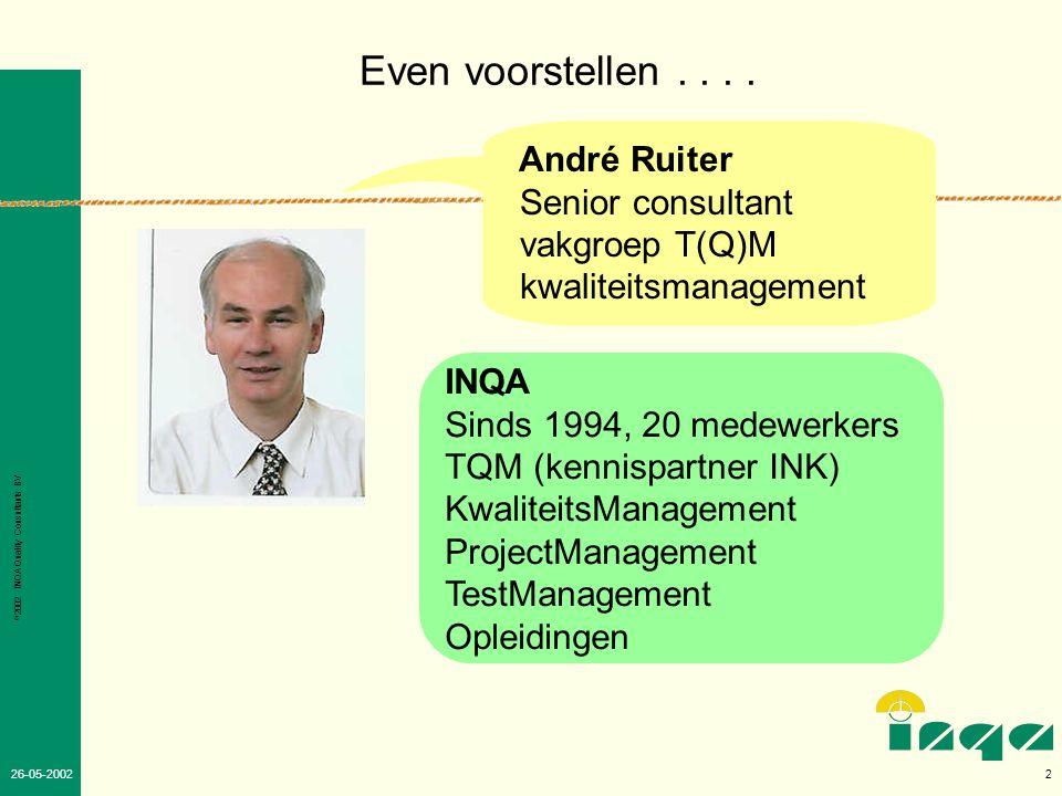 Even voorstellen . . . . André Ruiter Senior consultant vakgroep T(Q)M