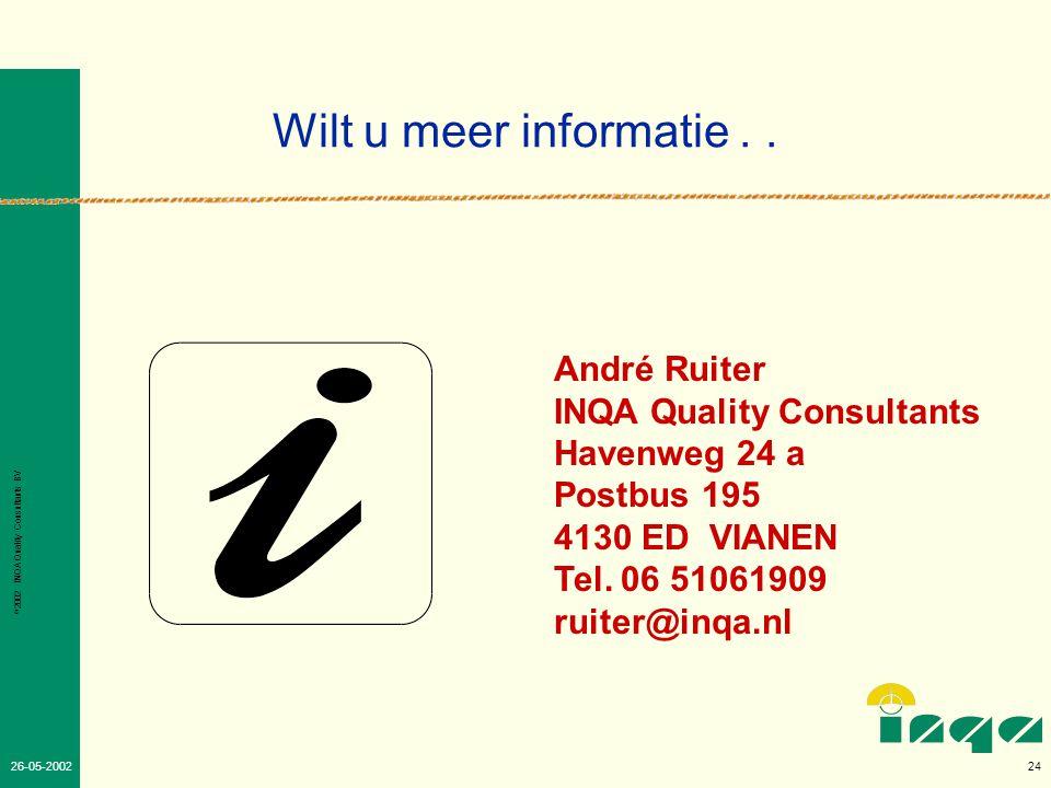 Wilt u meer informatie . . André Ruiter INQA Quality Consultants