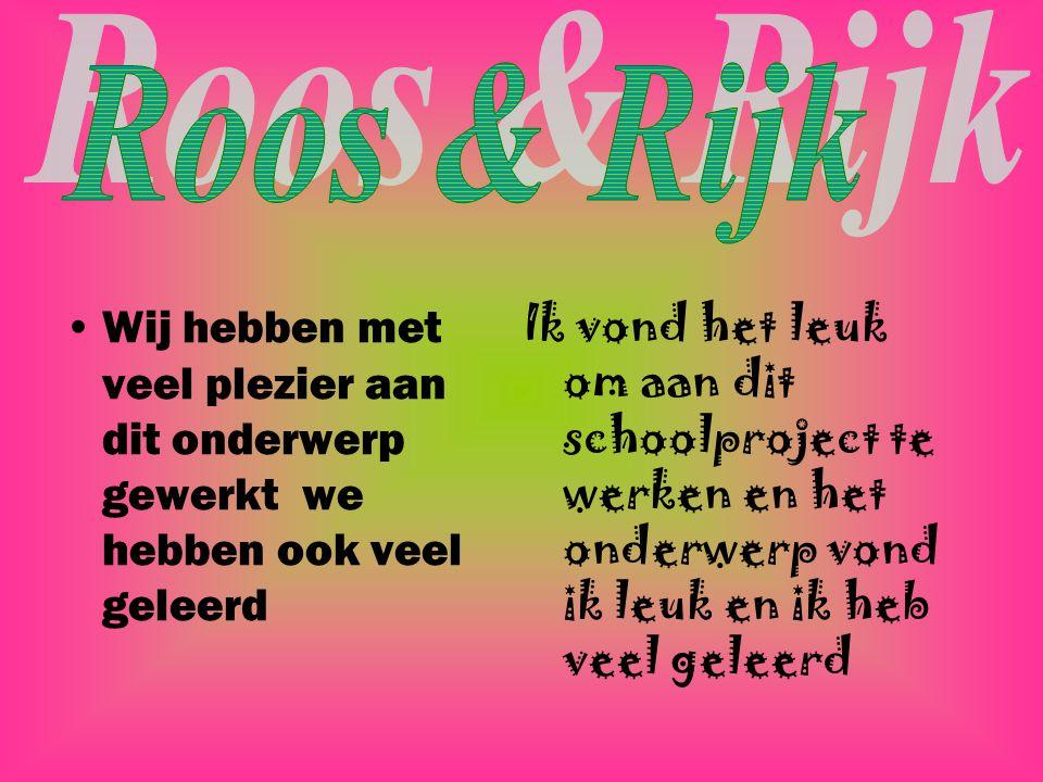 Roos & Rijk Wij hebben met veel plezier aan dit onderwerp gewerkt we hebben ook veel geleerd.