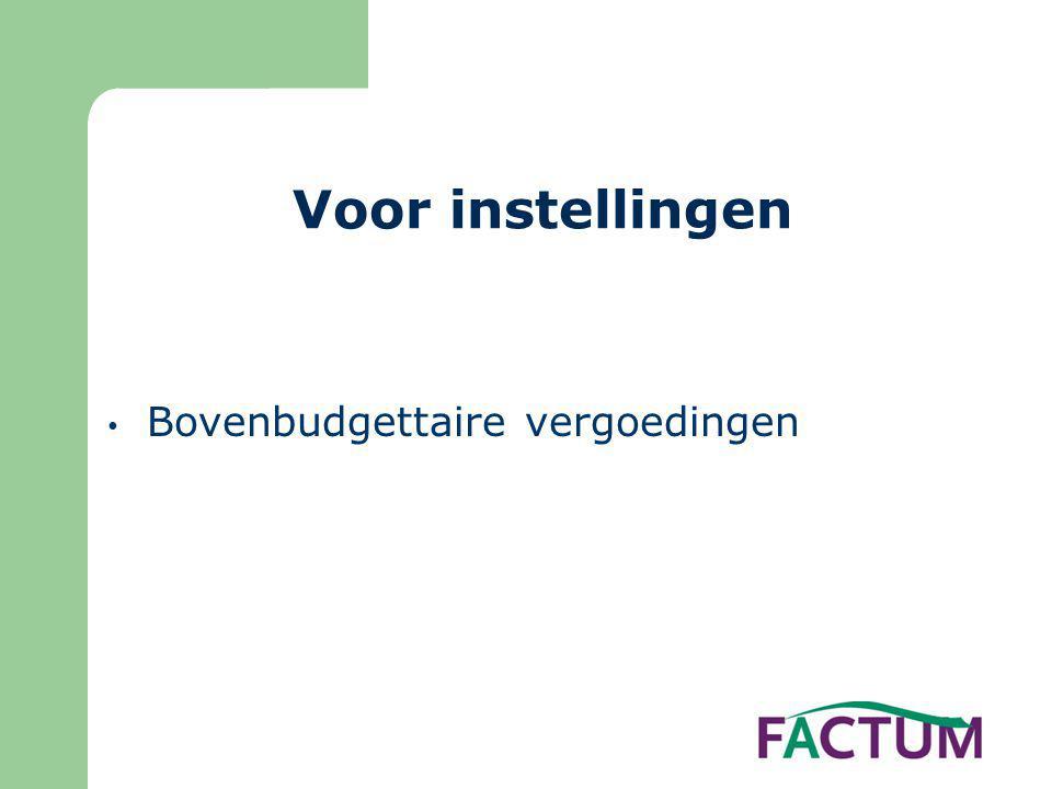 Voor instellingen Bovenbudgettaire vergoedingen