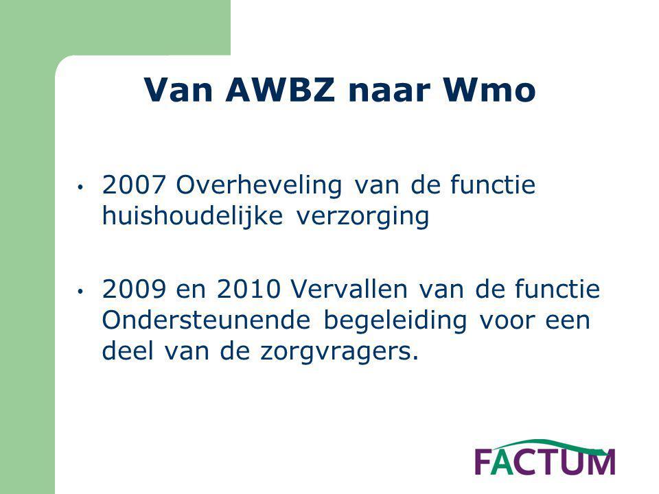 Van AWBZ naar Wmo 2007 Overheveling van de functie huishoudelijke verzorging.