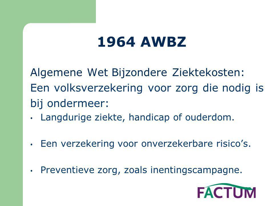 1964 AWBZ Algemene Wet Bijzondere Ziektekosten: