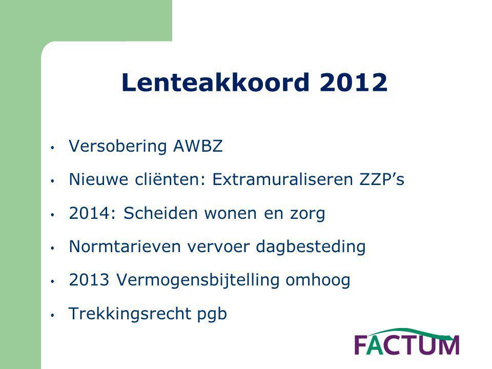 Lenteakkoord 2012 Versobering AWBZ