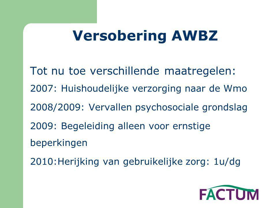 Versobering AWBZ Tot nu toe verschillende maatregelen: