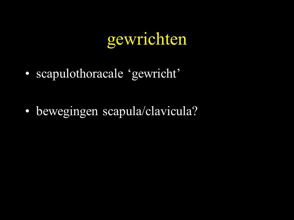 gewrichten scapulothoracale 'gewricht' bewegingen scapula/clavicula
