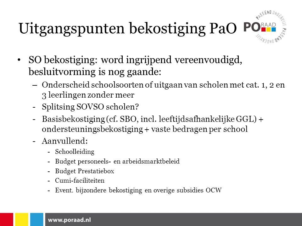 Uitgangspunten bekostiging PaO