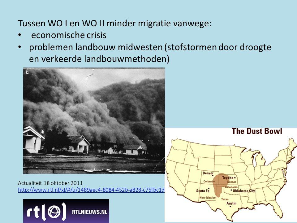 Tussen WO I en WO II minder migratie vanwege: economische crisis