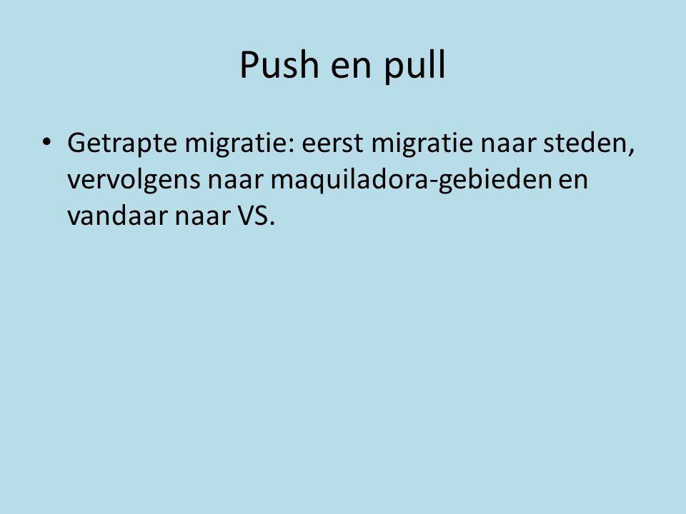 Push en pull Getrapte migratie: eerst migratie naar steden, vervolgens naar maquiladora-gebieden en vandaar naar VS.