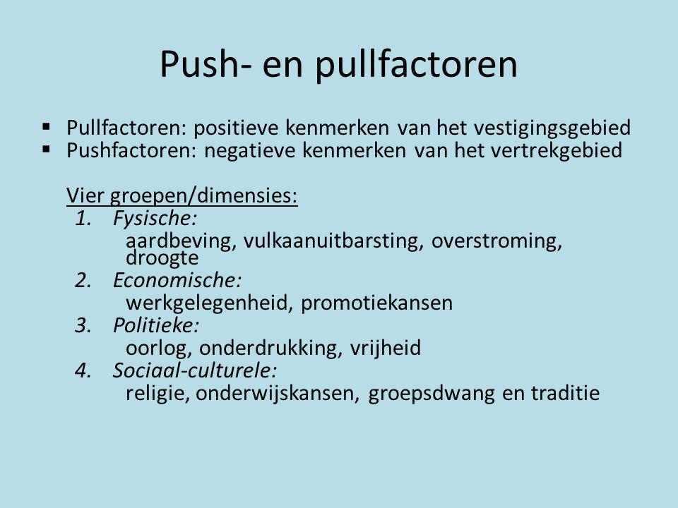 Push- en pullfactoren Pullfactoren: positieve kenmerken van het vestigingsgebied. Pushfactoren: negatieve kenmerken van het vertrekgebied.