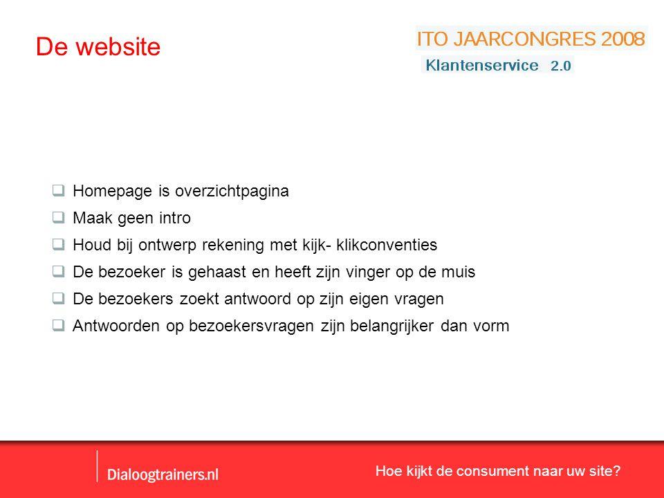 De website Homepage is overzichtpagina Maak geen intro