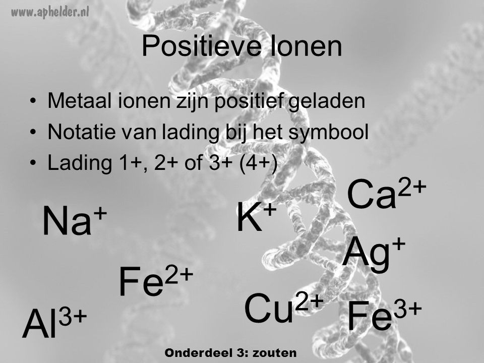 Ca2+ K+ Na+ Ag+ Fe2+ Cu2+ Fe3+ Al3+ Positieve Ionen