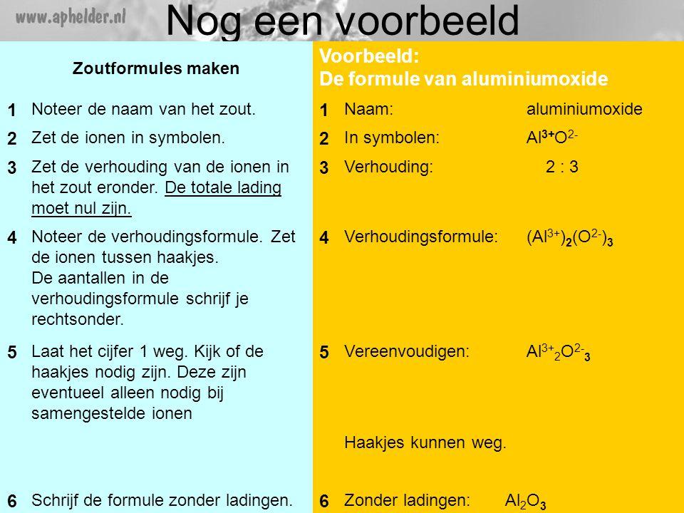 Nog een voorbeeld Voorbeeld: De formule van aluminiumoxide 1 2 3 4 5 6
