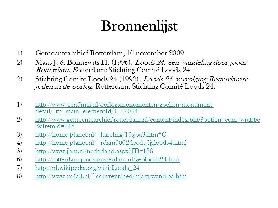 Bronnenlijst Gemeentearchief Rotterdam, 10 november 2009.
