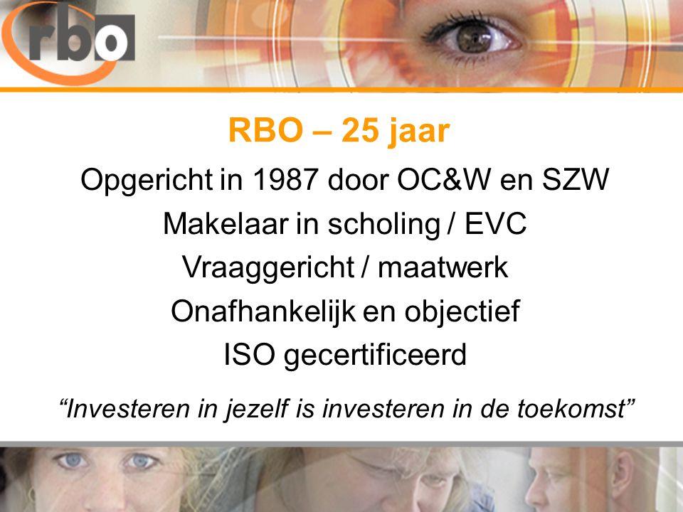 RBO – 25 jaar Opgericht in 1987 door OC&W en SZW