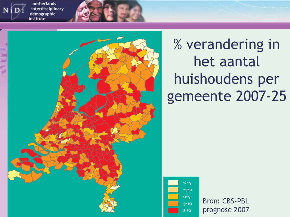 % verandering in het aantal huishoudens per gemeente 2007-25