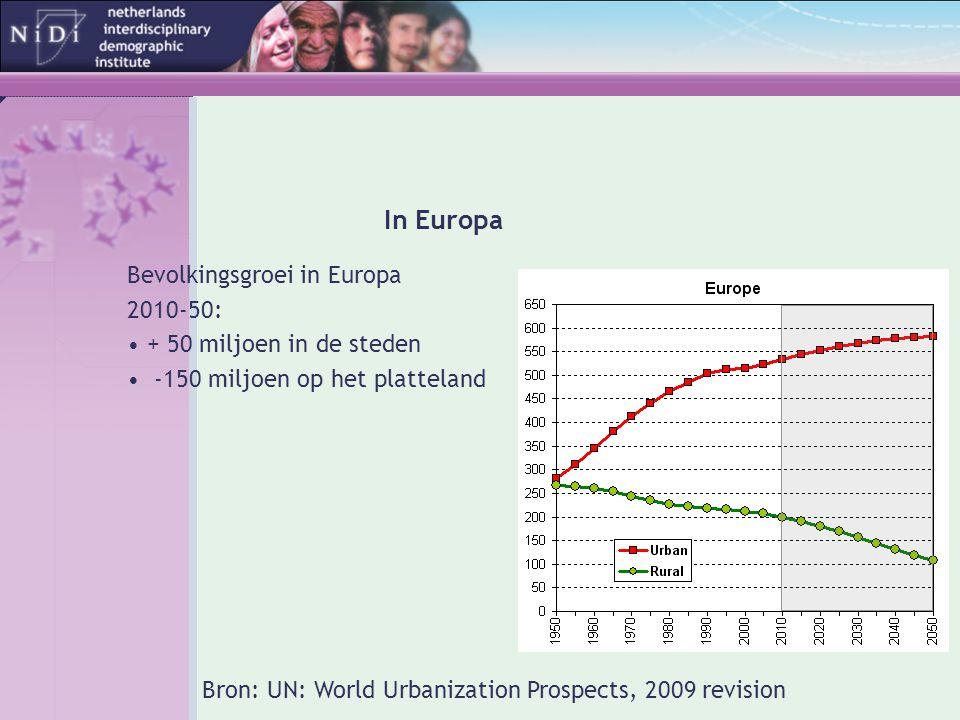 In Europa Bevolkingsgroei in Europa 2010-50: + 50 miljoen in de steden