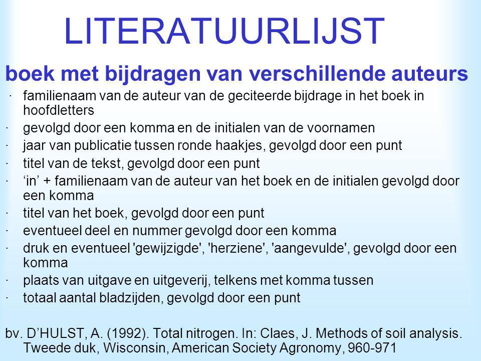 LITERATUURLIJST boek met bijdragen van verschillende auteurs