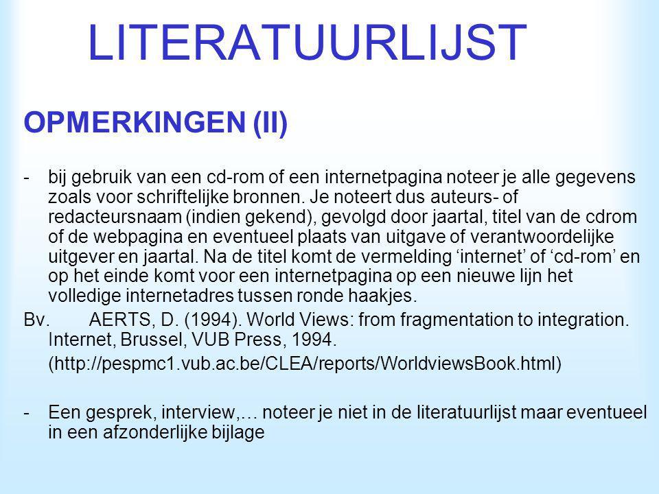 LITERATUURLIJST OPMERKINGEN (II)