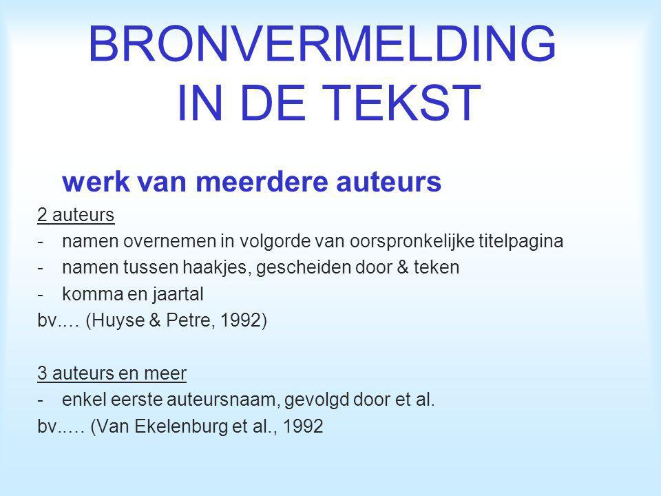 BRONVERMELDING IN DE TEKST