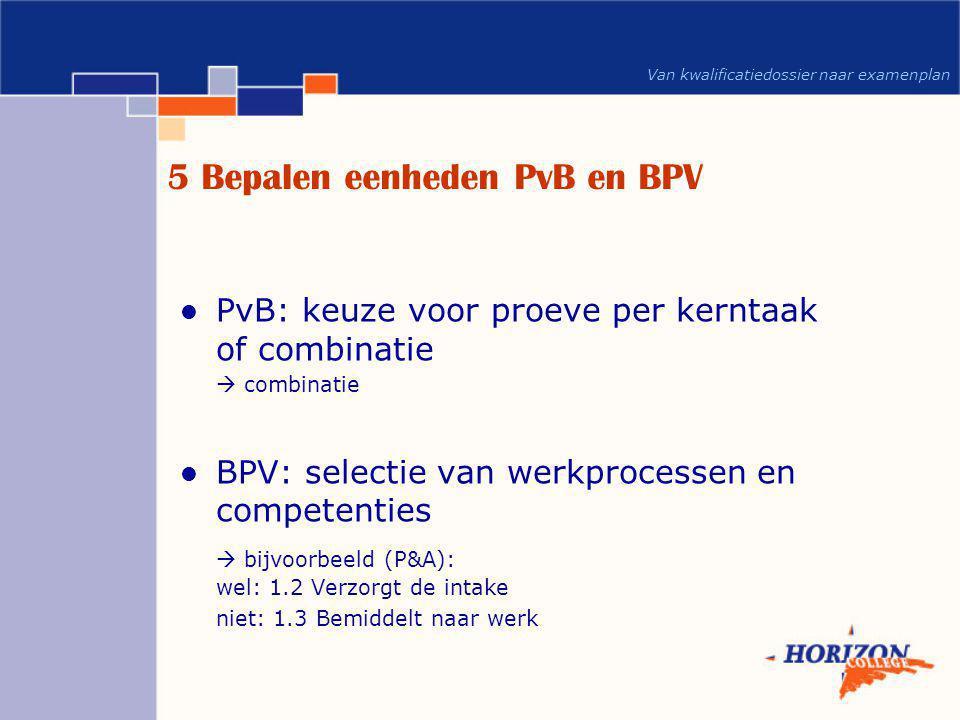 5 Bepalen eenheden PvB en BPV