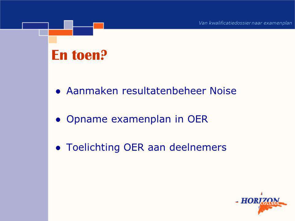 En toen Aanmaken resultatenbeheer Noise Opname examenplan in OER