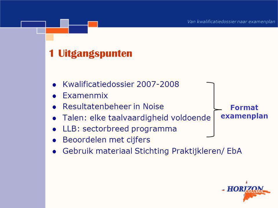 1 Uitgangspunten Kwalificatiedossier 2007-2008 Examenmix